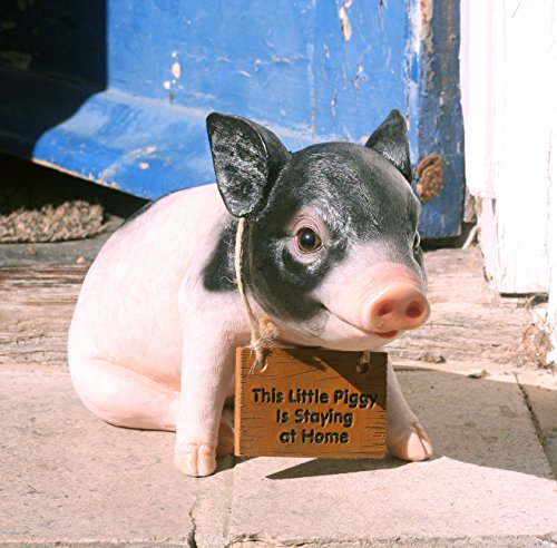 Pandora Pig 27 cm Resin Garden, Porch/Doorstep Ornament with'This little piggy is staying at home' sign