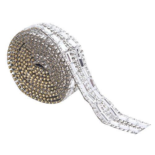 Adorno de cinta de cadena de diamantes de imitación de cristal de 2 yardas para vestido de noche cinturón collar accesorios de fiesta(1.5cm)
