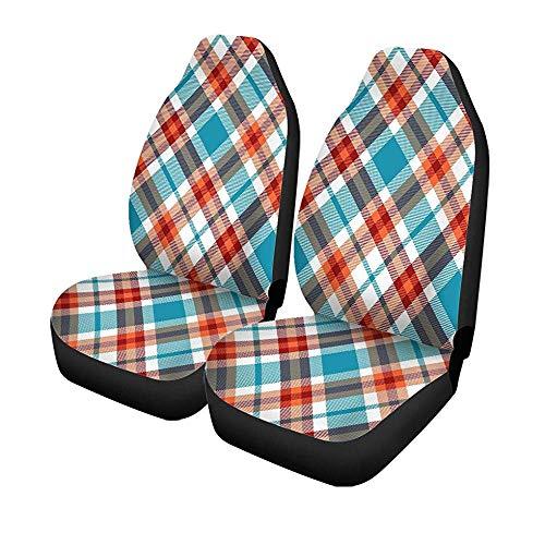 Beth-D set van 2 autostoelhoezen Tartan ruitpatroon ruiten strepen turquoise donker universele auto voorstoelen protector 14-17IN