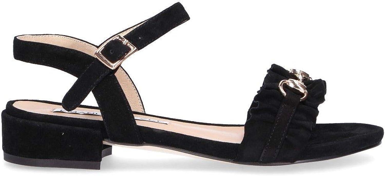 EMANUELLE VEE Women's 481319NBLK Black Suede Sandals