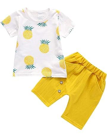 38683ec8c3de6 キッズ Tシャツ ショーツ セット男の子女の子 半袖 パイナップルプリントトップス 子供服 丸い襟 柔らかい