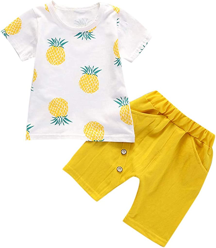 Zoepets Kids Summer Set Pineapple Print Short Sleeve Solid Color Shorts Two-Piece Suit