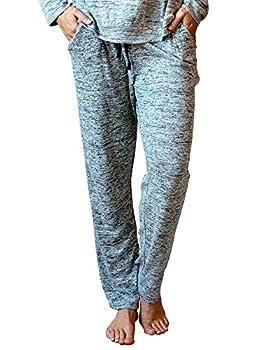 DM Merchandising Inc Hello Mello Carefree Threads Womens Loungewear Pants With Pockets and Adjustable Elastic Waistband Matching Drawstring Bag- Gray Medium 8-10