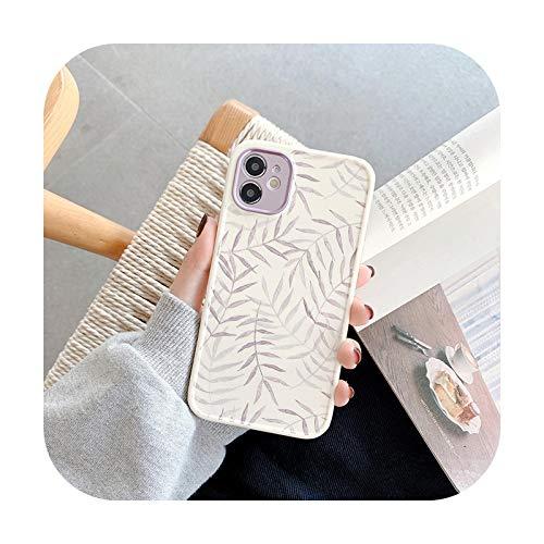 3D hoja de relieve planta acuarela pintura funda protectora teléfono para iPhone 11 Pro Max 12 Pro MiNi X XR XS 7 8 Plus SE 2020 cubierta-B-para iPhoneXS MAX