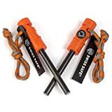 Swiss Safe 5-in-1 Fire Starter with Compass, Paracord and Whistle (2-Pack) for Emergency Survival Kits,...