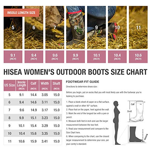 HISEA Women's Rubber Rain Boots Waterproof Insulated Garden Shoes Outdoor Hunting Working Riding Muck Neoprene Boots Mid Calf Pink Camo