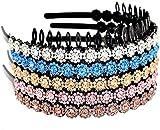 YINSHANG Conjunto de 5 Diademas de plástico con Diamantes de imitación para Mujeres y niñas Flores y Motivos Florales
