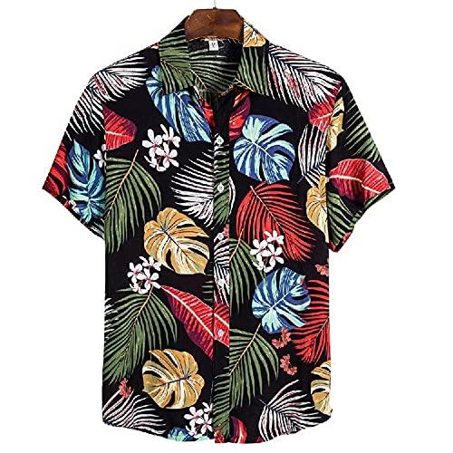 Shirt Playa Hombre Verano Estampado Transpirable Moda Hombre Shirt Ocio Cuello Kent Tapeta Manga Corta Hombre Shirt Ligera Hawaii Surf Hombre T-Shirt CS140 M