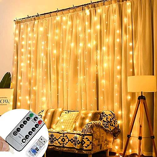 Cortina de Luces, Uplayteck 3 * 3 m 300 LED Luces Decorativas con Control Remoto, 8 Modos de Luz, 11 Niveles de Brillo, IP67 Impermeable, Cadena de Luces Decoración de Casa, Fiestas, Bodas, Jardin, Arbol de Navidad, Blanco Cálido