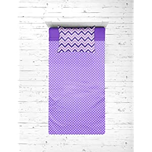 Bacati – Mix N Match Zigzag/dots 3 Pc Girls Toddler Bed Sheet Set Including Fitted Sheet, Flat Sheet and Pillow Case for US Standard Crib/Toddler Bed(Purple)