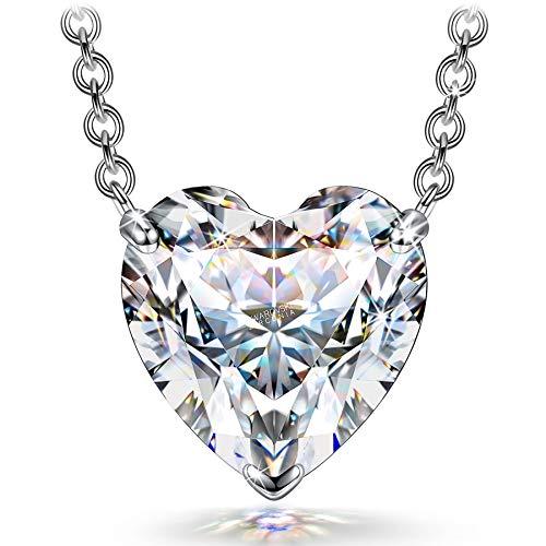 FANCI Collar de Mujer 925 Corazón de Plata Colgante Joyería Moda Mujer Zirconia Aniversario Regalo Cumpleaños de San Valentín, para Niñas Esposa Hija Madre Mamá