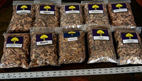 J.C.'s Smoking Wood Chips - Variety #1-10 Pk - #2 65 Cu Inch Quart Bags of Apple, Hickory, Wild Black Cherry & #1 65 Cu Inch Quart Bags of Maple, Mulberry, Oak, Pecan