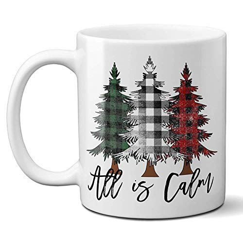 Both are peaceful Christmas coffee cups and rustic Buffalo lattice Christmas tree ceramic cup holiday gift cups 11oz