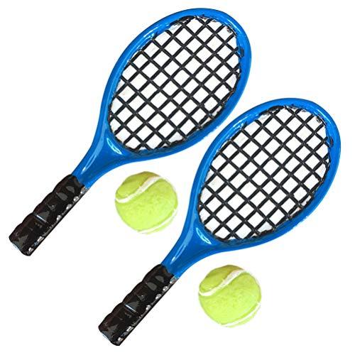 HEALLILY 4 Piezas de Casa de Muñecas en Miniatura Pelota de Raqueta de Tenis para Muñecas Peluche Amigos Juego de Juguetes Accesorios de Decoración de Casa de Muñecas Niños Niñas Niños Regalo Favor
