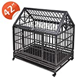 "JAXPETY 42.5""Tip Roof Heavy Duty Dog Cage Strong Metal Kennel and Crate for Dogs Pet Playpen with Four Wheels and Double Door Indoor Outdoor"