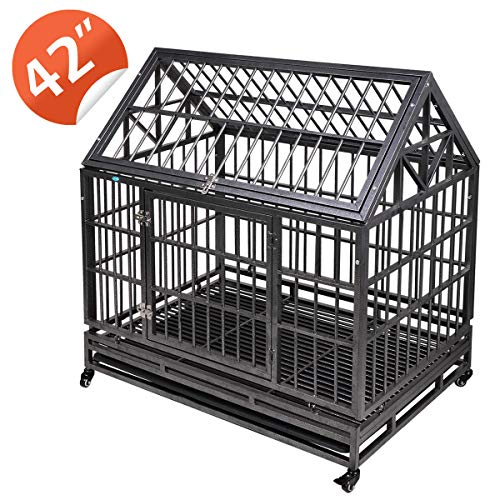 """JAXPETY 42.5""""Tip Roof Heavy Duty Dog Cage Strong Metal Kennel and Crate for Dogs Pet Playpen with Four Wheels and Double Door Indoor Outdoor Playpens"""
