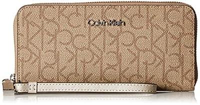 Calvin Klein Key Item Signature Continental Zip Around Wallet with Wristlet Strap