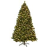 DREAMADE Albero di Natale, Artificiale Illuminato, Albero folto di Natale in PVC, con Luce LED e Supporto in Metallo, 210/225/240 cm, Verde (medello 3)