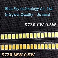 2000pcs/LOT 5730 0.5W-150Ma 40-65lm CW 6500K White Light SMD 5730 LED chip lamps- 3.2~3.4V WW 2800-3200K 5.7*3.0