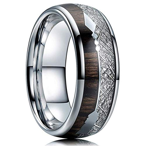 XINYIU Fdlk8Mm Wolframkarbid Edelstahlringe Inlay Hawaiian Koa Holz Meteorit PfeilEheringHerrenschmuck
