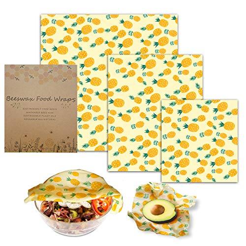 Bienenwachstücher für Lebensmittel, Essieny 3 Stück Wachspapier Bienenwachstücher Wachstücher Wiederverwendbar für Obst, Gemüse und Brot -S(18x20cm) M (24x28cm) 1xL (32x35cm)