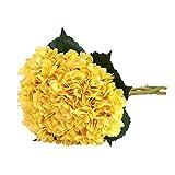 Tifuly Artificial Hydrangea Flower, 5 PCS Ramos de hortensias de Seda de Tallo Largo para Bodas, hogar, Hotel, decoración de Fiestas, centros de Mesa(Amarillo)
