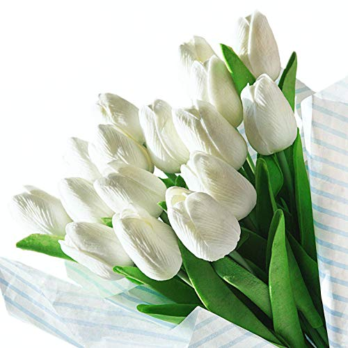 Veryhome Künstliche Blumen Gefälschte Blume Tulpe Latex Material Real Touch für Hochzeitszimmer Home Hotel Party Dekoration und DIY Decor ( Weiß - 20Stück )
