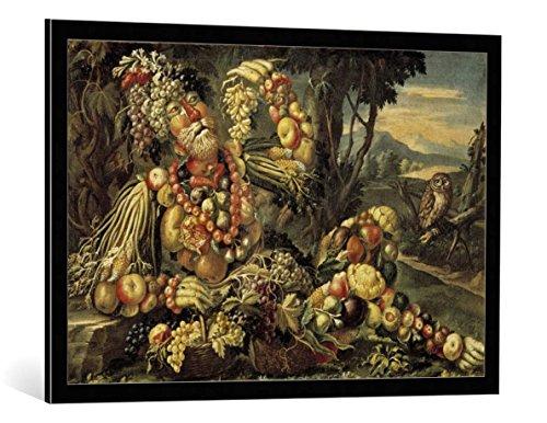 Kunst für Alle Cuadro con Marco: Giuseppe Arcimboldo Autumn - Impresión artística Decorativa con Marco, 95x65 cm, Negro/Canto Gris