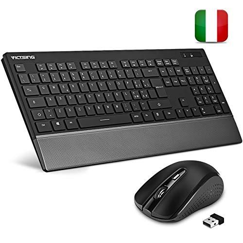 VicTsing Tastiera e Mouse Wireless PC Italiano, Mouse e Tastiera Wireless PC Design Protezione del Polso, Mouse Simmetrico 3 DPI, per Windows XP/7/8/10/ PS4, Xbox, Smart TV. Nero