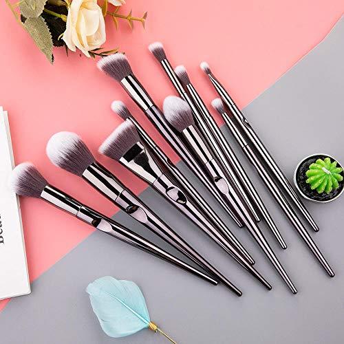 Maquillage Brush Set,Outils de maquillage pour femmes de beauté de fard à paupières fard à paupières Foundation Professional de 10 femmes, noir