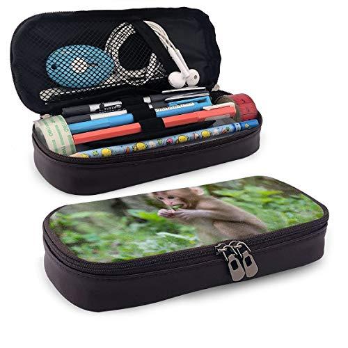 Estuche para lápices de bebé macaque con diseño de mono para maquillaje, estuche organizador duradero para estudiantes, papelería con doble cremallera, soporte para bolígrafos, para la escuela/oficina/viajes