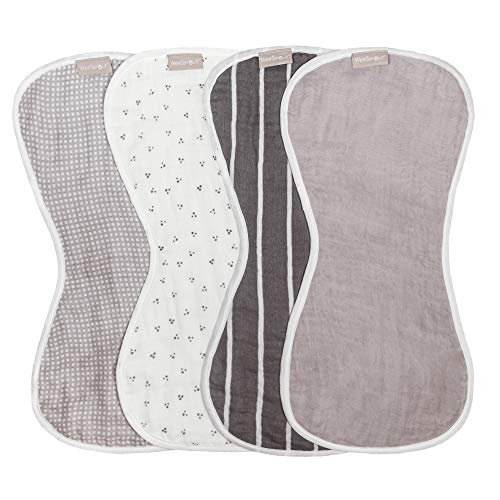 WeeSprout Set of 4 Organic Cotton Burp Cloths - Four Ultra-Absorbent Layers Keep Clothes Dry, Button Transforms Burp Cloth Into Baby Bib, Machine Washable & Dryer Friendly, Unisex for Boys & Girls
