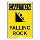 Vertical Caution Falling Rock OSHA Safety Sign, 10x7 in. Plastic for Recreation by ComplianceSigns
