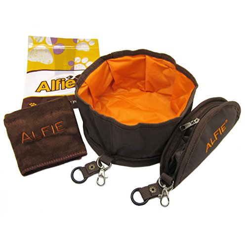 Alfie Pet - Set of 2 Fabric Expandable/Collapsible Travel Bowl (for Food and...