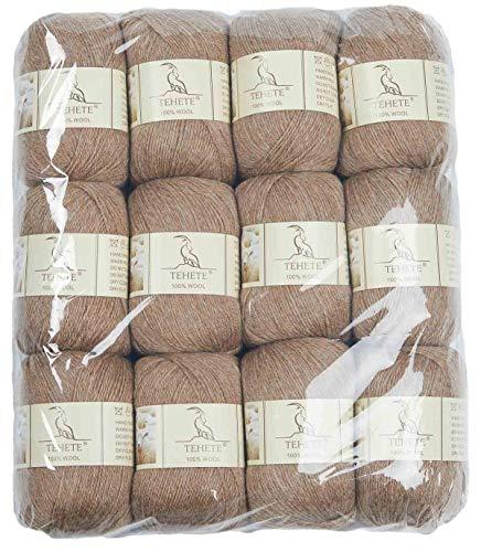 TEHETE 100% Wollgarn 12x50g 3-lagig weiches Handstrick-Häkelgarn für Pullover, Schal, Leggings, Handschuhe, Socken (12 Knäuel, mokka)