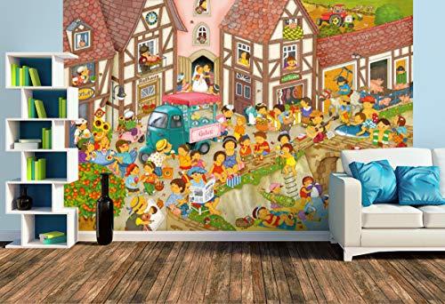 Premium Foto-Tapete Mein Dorf im Sommer (versch. Größen) (Size L   372 x 248 cm) Design-Tapete, Wand-Tapete, Wand-Dekoration, Photo-Tapete, Markenqualität von ERFURT