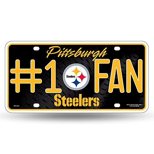 NFL Rico Industries #1 Fan Metal License Plate Tag, Pittsburgh Steelers