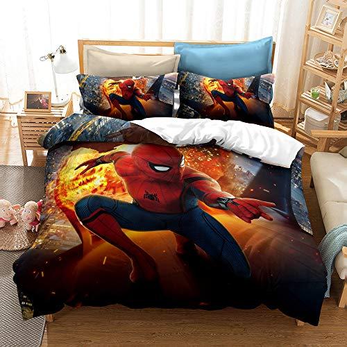 YBBY-U Ropa de cama Spiderman, funda de almohada de 80 x 80 cm, funda nórdica de 135 x 200 cm, 100% microfibra, juego de ropa de cama de Marvel Avengers para niños (Y01, 200 x 200 cm + 75 x 50 cm x 2)