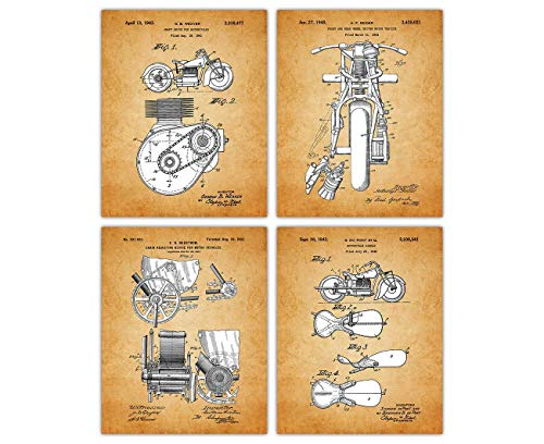 Vintage Indian Motor Poster Patent Prints - Set of 4 8x10 Unframed Indian Motor Wall Decor for Home, Office, Man Cave, Dorm and Bedroom - Creative Gift Idea for Indian Motor Wall Art Enthusiasts