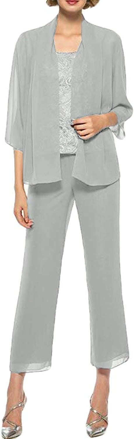 Springplus Women's 3 Piece Mother of Bride Groom Dress Pant Suits with Jacket