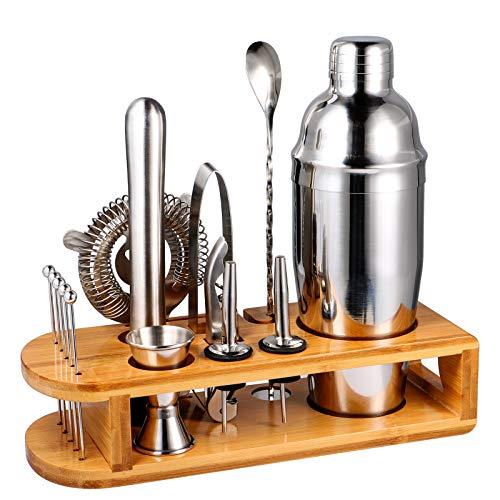 stusgo Cocktail Making Sets,15 Pcs Drink Mixer Shaker Set with Bamboo Stand, Martini Shaker Set Perfect Home Bartender Mixing Kit, 24 Oz Bar Tools Professional Bar and Home Drink Barware Tools