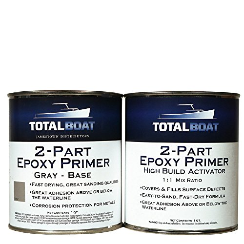 TotalBoat 2-Part Marine Epoxy Primer (Gray High Build Primer Kit, Quart)