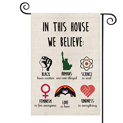 AVOIN Inspiration Quote Garden Flag Vertical Double Sided, LGBT Science Feminism Humans Kindness Flag Yard Outdoor Decoration 12.5 x 18 Inch