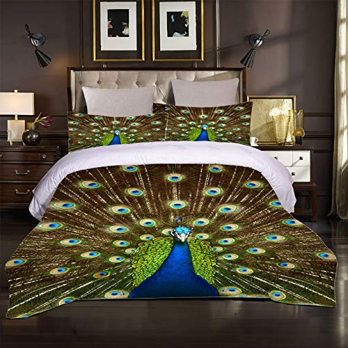 GZMSOL Duvet Cover Set Single 3 Pieces Peacock Pattern Printed Bedding Quilt Cover With Zipper Closure And 2 Pillow Cases Soft Hypoallergenic Microfiber Quilt Cover Sets 135X200Cm