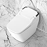 VOVO STYLEMENT TC-090 Smart Elongated One-Piece Toilet with Automatic Dual Flush (1.6GPF/1.0GPF), Heated Seat, Universal Height Toilet with Soft Close Seat Cover, Remote, White, Made in Korea