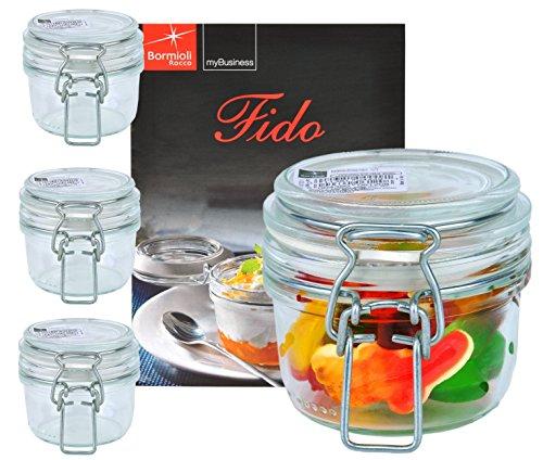 Fido - Set da 4 vasetti in vetro per conserva con chiusura a leva, capacità: 125 ml, libro di ricette Bormioli incluso