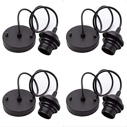 4 Pieces Rose Light Pendant Accessories Retro Modern Light Stand with 100mm Cable for Hanging Flexible Ceiling Chandeen Accessories (Black)