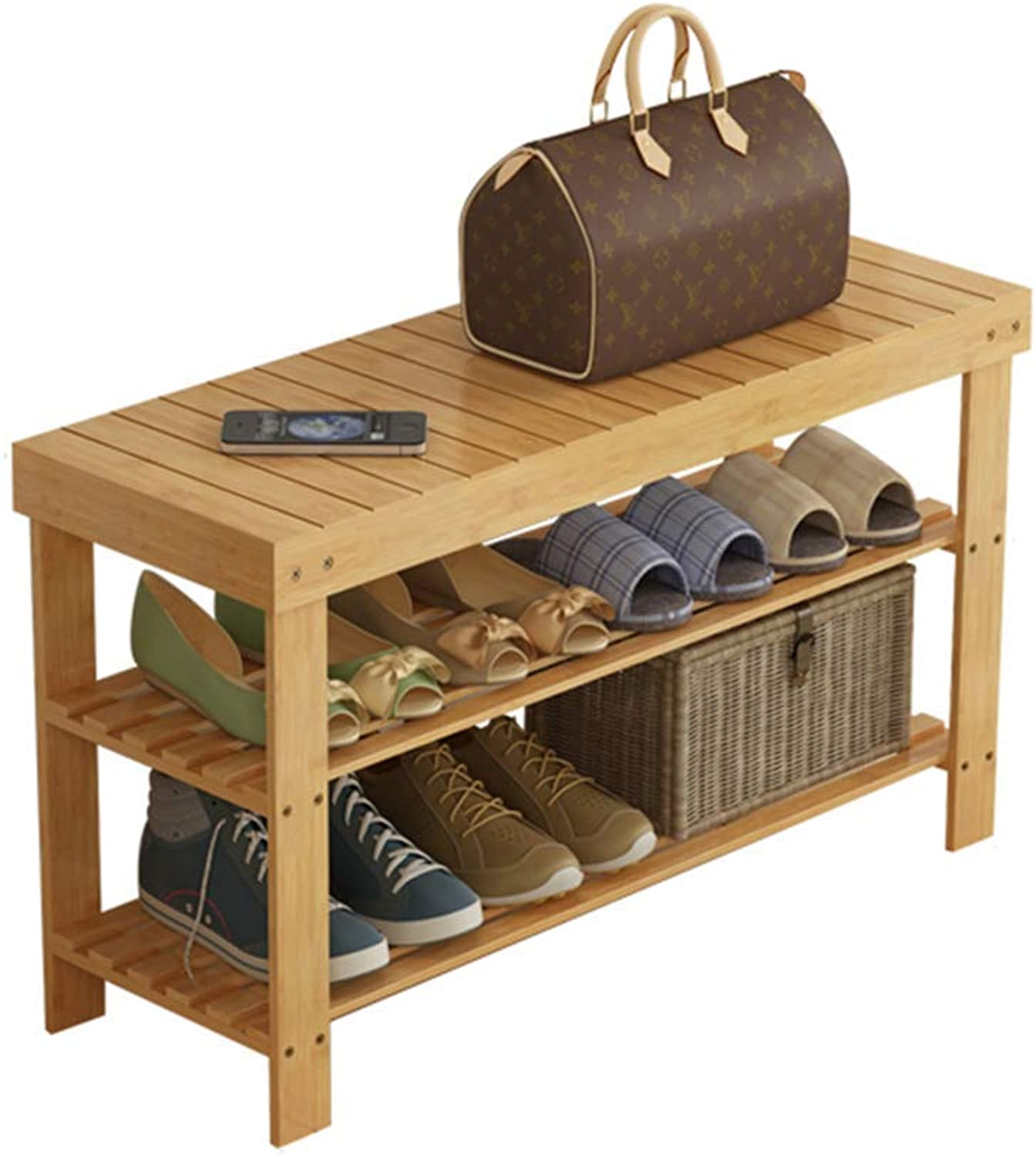Hallway Furniture shoes Racks 2-Tier Bamboo shoes Bench shoes Rack Storage Organizer Solid Wood shoes Cabinet - 6 Sizes,60  28  45CM