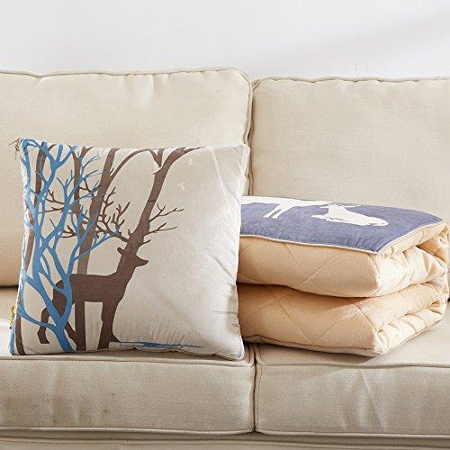 SCBED Almohada Multifuncional Quilt Engrosada Aire Acondicionado de Coches es pequeño Encantador Office nap Manta Almohada Almohada,40x40cm110*150,Papel Cortado Ciervo con una Placa Gruesa