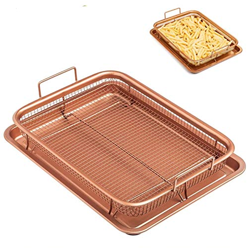Iarge Sheet Pans For Cooking, Microwave Oven Copper Baking Tray, BarBecue Tray Fry Pan Non-stick Chips Basket Baking Dish Grill Mesh Kitchen Tool.
